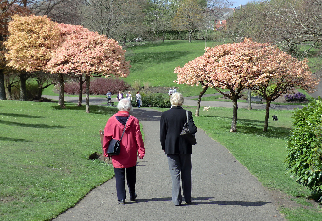 Women-Walking-with-Pink-Peach-Trees